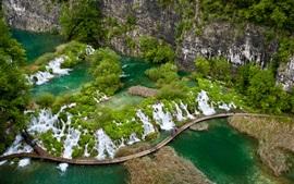Hermoso paisaje, paraíso verde, tropical, río, cascadas, puente, acantilado