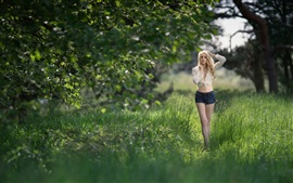 Blonde girl, shorts, shirt, summer, trees, grass