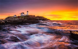 Coast, sea, lighthouse, building, sunrise, rocks, waves