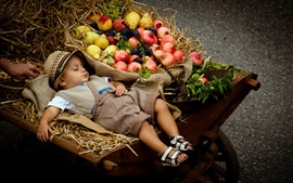 Preview wallpaper Cute boy sleeping, stroller, fruits