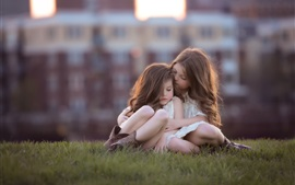 Preview wallpaper Cute girls, children, grass, bokeh