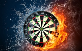 Preview wallpaper Darts, target, fire, water, spray, smoke, creative pictures