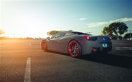 Preview wallpaper Ferrari 458 Italia grey supercar back view