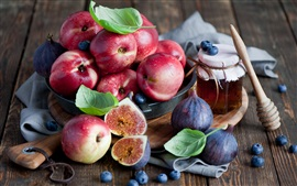 Fruits, berries, nectarines, figs, honey