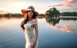 Preview wallpaper Girl, hat, bokeh, river