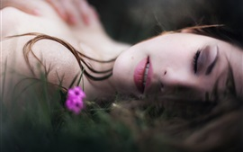 Girl sleeping, bokeh, flower