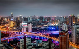 Huangpu, Shanghai, China, buildings, roads, night, lights