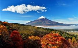 Preview wallpaper Japan, mount Fuji, sky, trees, clouds, hills, fog
