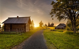 Kizhi, sunset, wood house, road, grass, trees