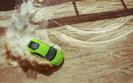 Preview wallpaper Lamborghini Huracan LP640-4 green supercar, drift, dust