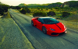 Preview wallpaper Lamborghini Huracan LP640-4 red supercar, road