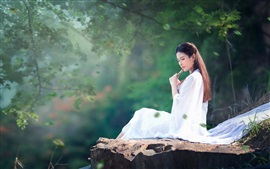 Preview wallpaper Long hair girl, white dress, music, flute