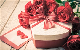 Love, gift, red roses flowers, petals, Valentine's day