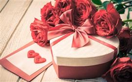 미리보기 배경 화면 사랑, 선물, 빨간 장미 꽃, 꽃잎, 발렌타인 데이