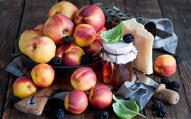 Nectarines, peaches, fruit, berries, cheese, honey, jar