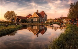 Netherlands, houses, river, bridge, dusk