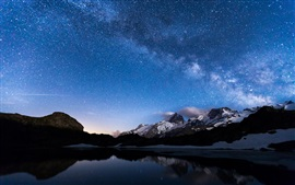 Preview wallpaper Night, lake, mountains, sky, stars, water reflection