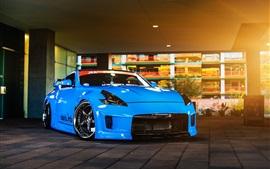 Nissan 370Z синий автомобиль, свет