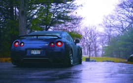 Preview wallpaper Nissan R35 GTR blue car rear view, rain, trees