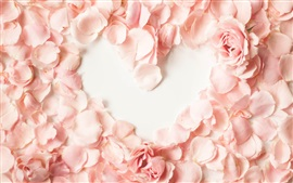 Preview wallpaper Pink petals, rose, love heart