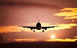 Avion, silhouette, ligne d'horizon, le soleil, coucher de soleil