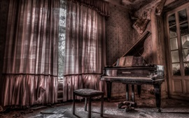 Preview wallpaper Room, piano, music, dust