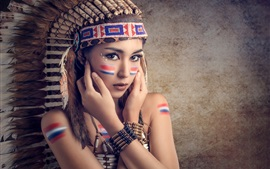 Preview wallpaper Saipan, makeup, cute girl, feathers, colorful