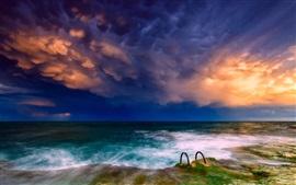Mar, costa, cielo, nubes, sol