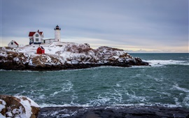 Preview wallpaper Sea, snow, winter, coast, house, lighthouse