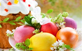 Preview wallpaper Spring, Easter, eggs, colorful, flowers, cake