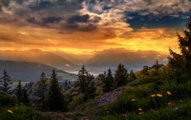 Preview wallpaper Switzerland, sky, clouds, mountains, trees, sunset