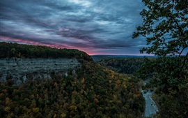 Preview wallpaper United States, Letchworth State Park, canyon, forest, river, evening