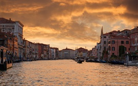 Venice, Italy, houses, city, river, evening, boats, dusk