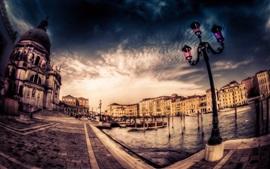 Veneza, cidade, casas, crepúsculo