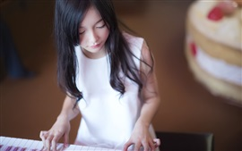 Preview wallpaper White dress girl, Asian, piano, music