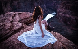 White dress, girl, gorge, river