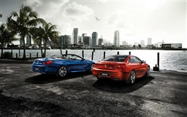 Preview wallpaper 2015 BMW M6 coupe, orange blue cars