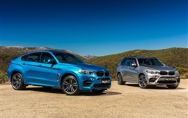 Preview wallpaper 2015 BMW X6 M, X5 M, blue silver cars