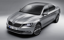 Preview wallpaper 2015 Skoda Superb silver car