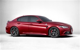 Preview wallpaper 2016 Alfa Romeo Giulia Quadrifoglio 952 red supercar