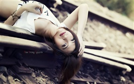 Asian, girl, railway