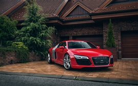 Preview wallpaper Audi R8 red car, house, garage