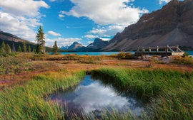 Preview wallpaper Banff National Park, Alberta, Canada, lake, mountains, trees, grass, bridge