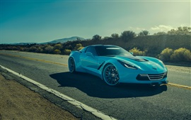 Preview wallpaper Chevrolet Corvette C7 Stingray blue car