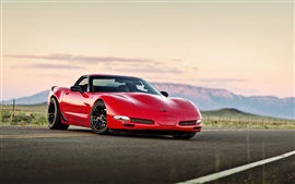 Preview wallpaper Chevrolet Corvette red supercar, road