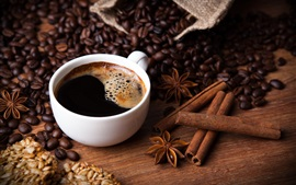 Coffee, beans, cloves, cinnamon, sunflower seeds