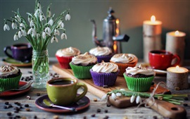 Preview wallpaper Cupcakes, cream, snowdrops, flowers, cups, coffee, candles