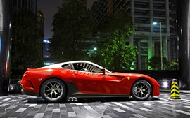 Preview wallpaper Ferrari 599 GTO red supercar, night, parking, city