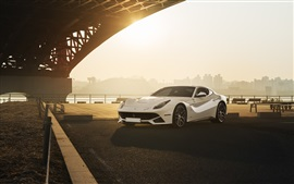 Preview wallpaper Ferrari F12 Berlinetta white supercar, sun, bridge