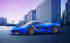 Preview wallpaper Ferrari FXX K race car, blue supercar